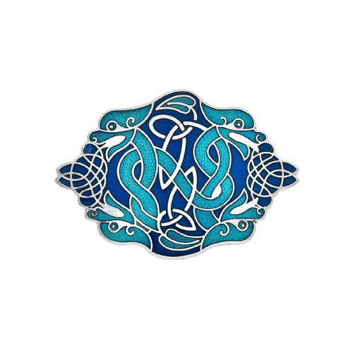 Blue Celtic Dragons Brooch Silver Plated Brand New Gift Packaging